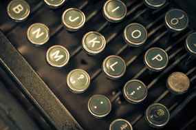 Old fashioned typewriter keys, traditionally associated with journalists